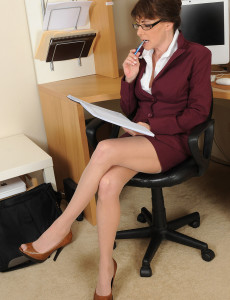 Hot 47 Year Old Alexandra Silk  Opens Her Shaven  Twat at Work