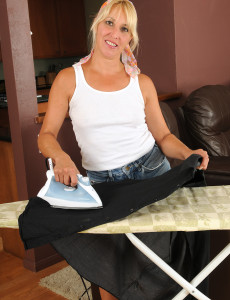 Blond  Wife Andi Stops Ironing and  Undresses off Her Jeans Cut-offs