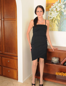 Elegant  Brown Haired Hailey Murphy Glides out of Her Ebony Evening Gown