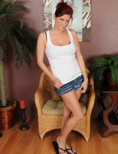 Tight Bodied 32 Year Old Lya Pinkish Glides out of Her Hot Jeans Cut-offs