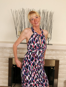 Elegant and  Blond Haired 57 Year Old Pam Strutting Around the Room  Bare