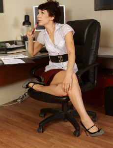 Office Milf Kitty Mcmuffin Takes a Break to Show off Her Tight Pussy