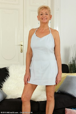 57 Year Old Scarlette J Glides off Her Elegant White Dress and  Opens