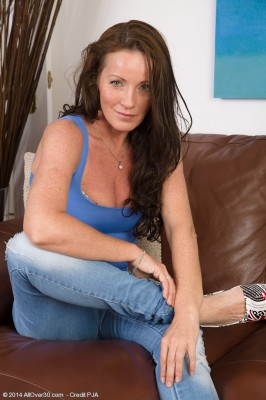 Adorable Plus  Skinny 44 Year Old Marlyn Glides from Her Jeans Denim
