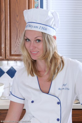 Sexy  Blond Haired Lara Elaine Provides a Nude Cooking Class in Kitchen