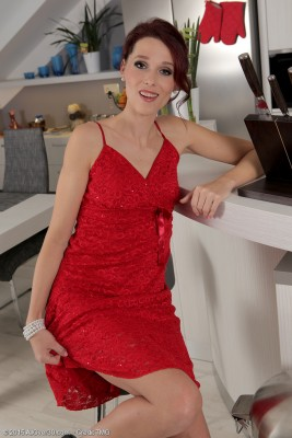 37 Year Old  Slender Beanne Slides off Her Elegant Red Dress and  Opens